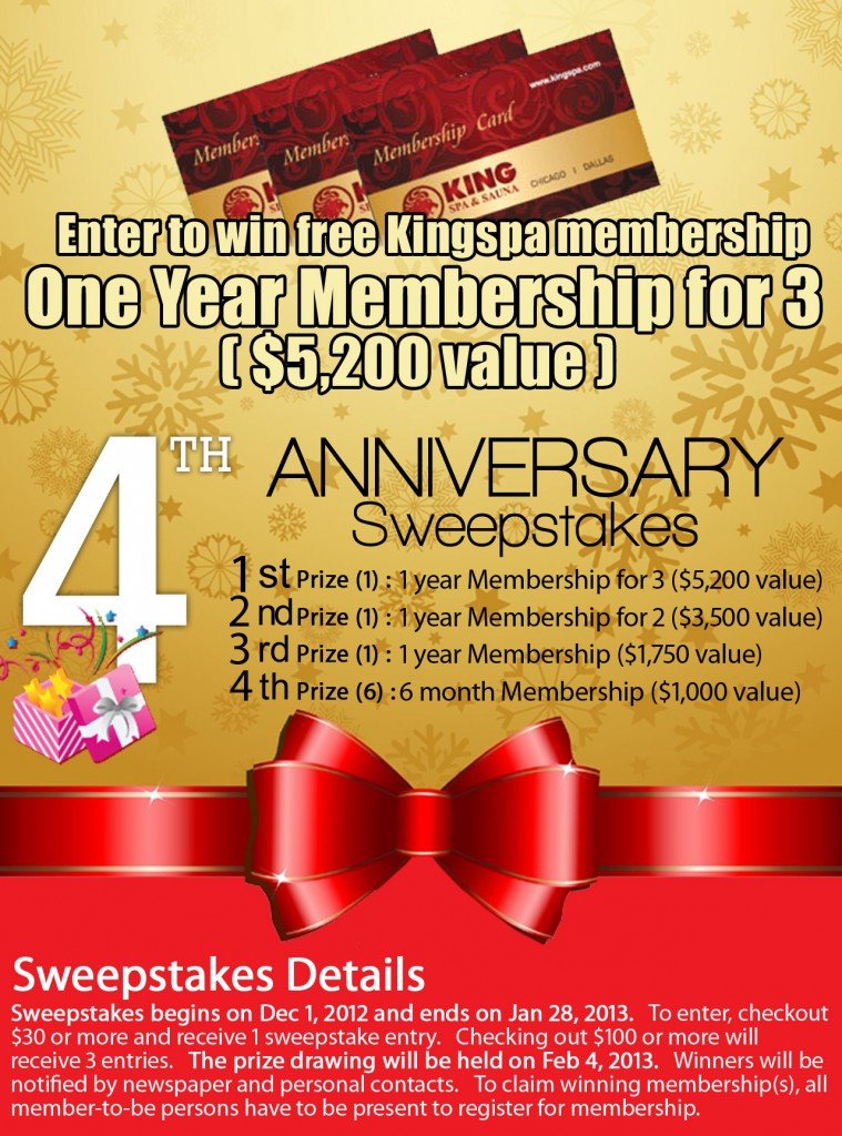 Dallas King Spa & Sauna Sweepstakes