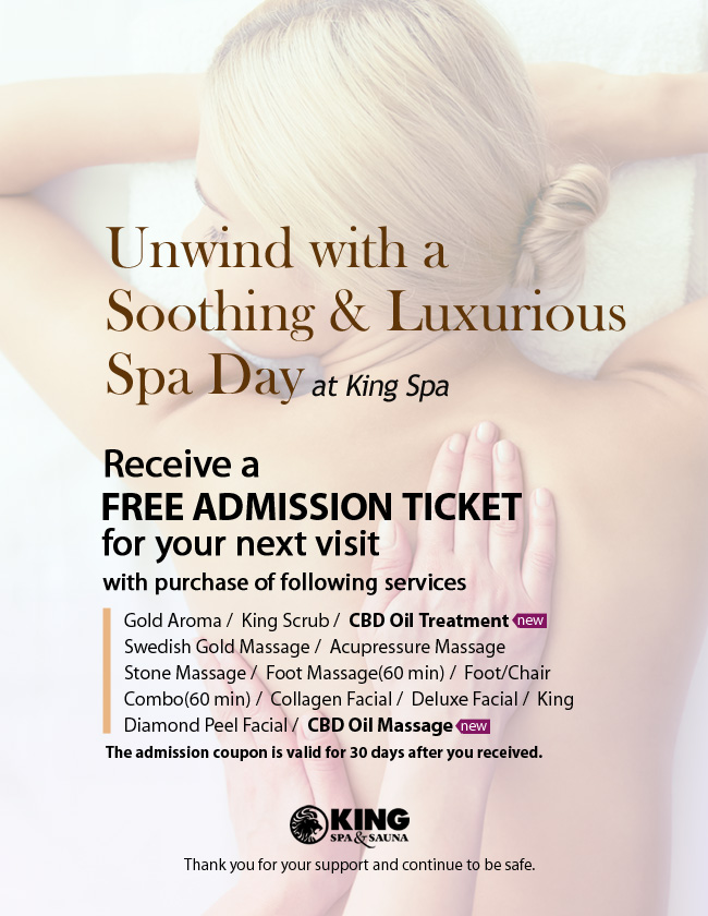Receive a free admission for next visit King Spa & Sauna